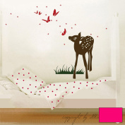 Wall Sticker Decal Sticker Rehlein with Butterflies and Stars M413, lilac, M - 40cm breit x 60cm hoch