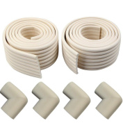 Aoxintek 2 Roll Length 2M Width 8cm Removable Adhesive Baby Table Corner Edges Collision Glass Protector Cushion with 4 Corner Guards