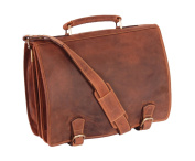 Mens Real Leather Messenger Satchel Organiser Laptop Bag Briefcase HALL Oil Tan