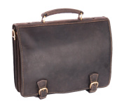 Mens Real Leather Messenger Satchel Organiser Laptop Bag Briefcase HALL Oil Brown