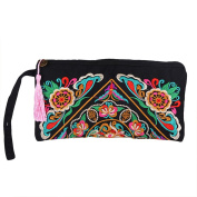 Anself Women Clutch Bag Embroidery Contrast Wrist Strap Mobile Phone Bag