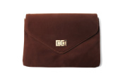 Women's Coffee Faux Suede Square Envelope Clutch Bag