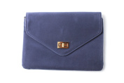 Women's Navy Faux Suede Square Envelope Clutch Bag