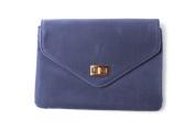 Women's Navy Faux Suede Square Envelope Clutch Bag