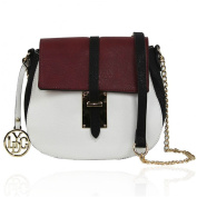 New LYDC Clio White Grey / Wine or Navy Blue Two Tone Faux Leather Saddle Bag Crossbody Shoulder Bag