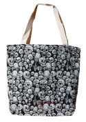 Woven handbag with skull pattern