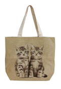 Woven handbag with 2 cats