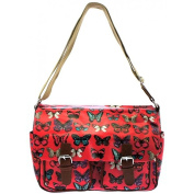 WOMENS OILCLOTH OWL SKULL CROSS BODY SATCHEL SHOULDER GIRLS SCHOOL COLLEGE BAG