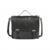 Assots. Genuine Leather Classic design Satchel- Black (Tan available)-front buckles- detachable leather strap- Top handle - Inner compartment and pocket- Takes A4 size Files lap top and Tablets.