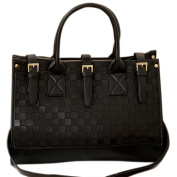 Tasso Women Black Single Shoulder PU Leather Handbag with Chain Quilted Cross Body Bag