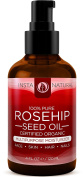 InstaNatural Organic Rosehip Seed Oil - 100% Pure - Natural Moisturiser for Face, Skin, Hair, Stretch Marks, Scars, Wrinkles & Fine Lines - 120ml