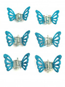 Pack Of 6 Mini Butterfly Glitter Hair Clamps Clips Hair Accessory Hair Grips