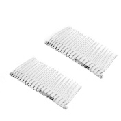 Veewon® 2pcs Bridal Wedding Veil Combs Metal Wire Hair Clip Combs 7.8cm 20 Teeth Silver