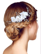 Miya® 1 Mega Glamour Bridal Comb Hair Comb Hair Comb with Lovely Flowers, Embellished with Pearls & Crystals - Bridal Jewellery Wedding/Confirmation (, Flower YY05