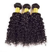 YanT HAIR 9A Grade Brazilian Virgin Hair Water Wave Human Hair Weave 3 Bundles 60cm Natural Black Colour Pack of 3