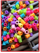 100 Dread Whirly Mixed Acrylic Hair Beads