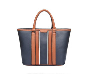 Ladies Womens Navy Blue / Tan Colour Block Tote Bag