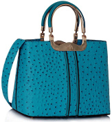 Stunning Teal Ostrich Effect Grab Tote Bag. FOR £24.99 | FREE UK DELIVERY | SAVE 70%
