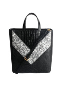 V-shaped pattern crocodile handbag