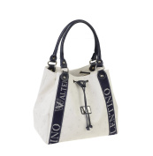 Walter Valentino - Made in Italy Exclusive Large Shopper with Logo Print. 33x28x20 cm, White/Blue, W5482