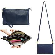 Belfen® Women's [Soft-Feel Genuine Leather] Smartphone Leather Wristlet Crossbody Wallet Clutch with Crossbody strap/Wrist Strap-for Smartphone up to 14cm -Sapphire blue