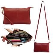 Belfen® Women's [Soft-Feel Genuine Leather] Smartphone Leather Wristlet Crossbody Wallet Clutch with Crossbody strap/Wrist Strap-for Smartphone up to 14cm -Jester red