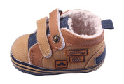 Toyobuy Stitching Plus Velvet PU Baby Prewalker Toddler Shoes