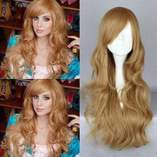 Fashion Long Side Bang Synthetic Shaggy Wavy Golden Flax Capless Women's Cosplay Wig for Ladies