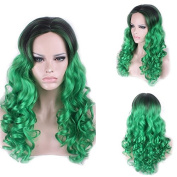 Fashion Curly Middle Part Synthetic Attractive Long Black Green Gradient Cosplay Wig For Women