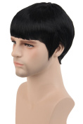 Topcosplay Short Wig Black Straight SEE Bang Cosplay Costume Fibre Hair Wigs for Men Adult