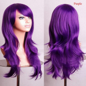 Enjoydeal Heat Resistant Big Wavy Wig Long Hair Natural Synthetic Full Wigs purple
