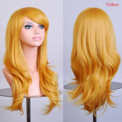 Enjoydeal Heat Resistant Big Wavy Wig Long Hair Natural Synthetic Full Wigs yellow