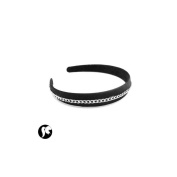 sublimod Headband in Black Fabric with Mesh Chain - Silver