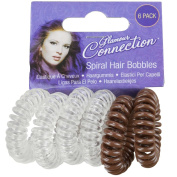 6 Pack Girls Womens Spiral Plastic Elastic Style Hair Bands Bobbles Stretchy Coil Simple Easy New Clear/Brown