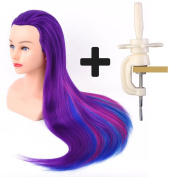 60cm Cosmetology Mannequin Head 100% Synthetic Hair Rainbow Colour, Practise Training Hair Styling Mannequin Head with Table Clamp Holder