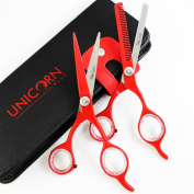 . Offer !! Deep Red Hairdressing Barber Salon Scissors, Thinning Scissors Set 14cm , Super Cut Hair Cutting Scissors with beautiful Scissors Case by Unicorn Plus Scissors