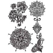 Cokohappy Temporary Tattoo , Wedding Black Lace Lotus Mandala Indian Totem Body Paint , Long-Lasting for Girl Women