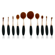 Internet 10PC/Set Toothbrush Eyebrow Foundation Eyeliner Lip Oval Brushes