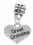 Great Grandma Rhinestone Heart Pendant Charm Fits Pandora Style Bracelets Womens Girls Jewellery