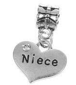 Niece Rhinestone Heart Pendant Charm Fits Pandora Style Bracelets Womens Girls Jewellery