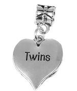 Twins Heart Pendant Charm Fits Pandora Style Bracelets Womens Girls Jewellery