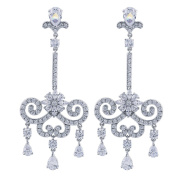 GULICX CZ Austrian Crystal Romantic Tear Drop Chandelier Bridal Earrings Silver Tone Clear
