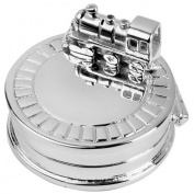 Highly Detailed Hinged Silver-plate Keepsake Box Featuring a Train Engine.Gift for birth or Christening