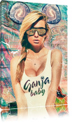 Ganja bus painting on canvas, huge XXL Pictures completely framed with stretcher, art print on wall picture with frame, cheaper than painting or an oil painting, not a poster or billboard, size