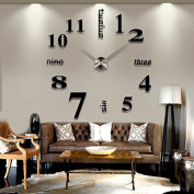 Alrens_DIY(TM)Luxury Arabic Numerals Digits English Letters Time Large Size Modern Design DIY Frameless 3D Big Mirror Surface Effect Wall Clock Watches Home Living Room Bedroom Office Decoration Self-adhesive Wall Sticker Decor Creative Art