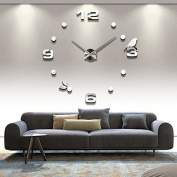 Alrens_DIY(TM)Luxury Arabic Numerals Digits Birds Dots Rounds Time Large Size Modern Design DIY Frameless 3D Big Mirror Surface Effect Wall Clock Watches Home Living Room Bedroom Office Decoration Self-adhesive Wall Sticker Decor Creative Art (MQ-008-S ..