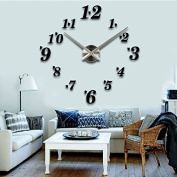 Alrens_DIY(TM)Luxury Arabic Numerals Digits Love Hearts Large Size Modern Design DIY Frameless 3D Big Mirror Surface Effect Wall Clock Watches Home Living Room Bedroom Office Decoration Self-adhesive Wall Sticker Decor Creative Art