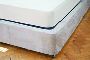 Divan Bed Base Wrap Valance in King Bed Size in Linen Beige 38cm Deep