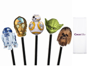 10 x Coco & Bo - Star Wars Heroes Cupcake Toppers - BB8 R2D2 C3PO Yoda and Chewbacca Theme Party Decorations & Cake Accessories