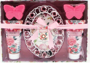 Peony Luxury Bath Spa Gift Set with Picture Frame, Shower Gel, Bubble Bath, 2 Butterfly Shaped Soap